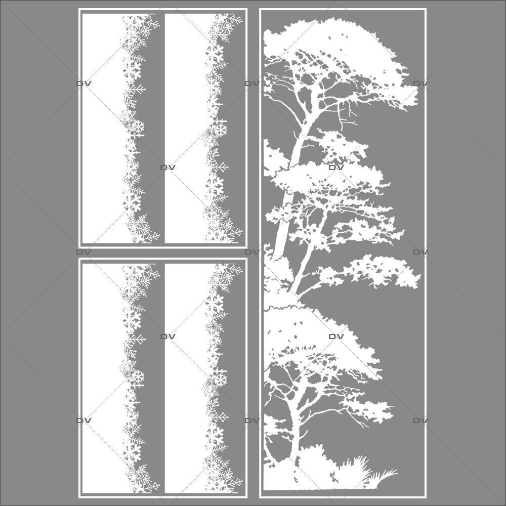 lot-promotionnel-3-stickers-vitrine-noel-sylvestre-frises-de-cristaux-et-pin-parasol-givre-electrostatique-sans-colle-repositionnable-DECO-VITRES-KIT132