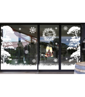 vitrine-decoration-noel-electrostatique-sticker-paysage-neige-pin-parasol-givre-blanc-cave-caviste-coupes-champagne-deco-vitres