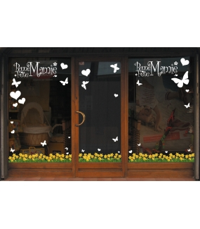 fleurs33 sticker frises de jonquilles deco vitres electrostatique. Black Bedroom Furniture Sets. Home Design Ideas