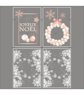 Lot-promotionnel-4-stickers-vitrine-noel-boudoir-pancarte-joyeux-noel-couronne-boules-rose-blanche-champagne-frises-de-cristaux-entourage-vitrine-electrostatique-sans-colle-repositionnable-DECO-VITRES-KIT23