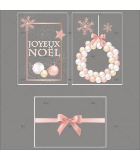 Lot-promotionnel-3-stickers-vitrine-noel-boudoir-pancarte-joyeux-noel-couronne-boules-rose-blanche-champagne-ruban-noeud-cadeau-rose-electrostatique-sans-colle-repositionnable-DECO-VITRES-KIT24