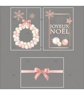 Lot-promotionnel-3-stickers-vitrine-noel-boudoir-pancarte-joyeux-noel-couronne-boules-rose-blanche-champagne-ruban-noeud-cadeau-rose-electrostatique-sans-colle-repositionnable-DECO-VITRES-KIT26