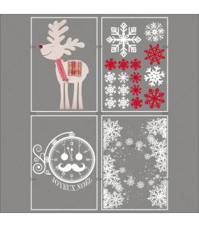 lot-promotionnel-4-stickers-vitrine-noel-traditionnel-frises-entourage-cristaux-renne-horloge-pere-noel-joyeux-noël-electrostatique-sans-colle-repositionnable-DECO-VITRES-KIT44