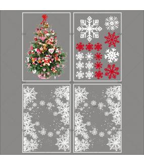 lot-promotionnel-4-stickers-vitrine-noel-traditionnel-frises-entourage-cristaux-sapin-decore-cristaux-rouge-irise-blancs-electrostatique-sans-colle-repositionnable-DECO-VITRES-KIT43