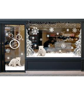 vitrine-decoration-noel-polaire-oursons-paysage-enneige-sapins-stickers-electrostatique-vitrophanie-frises-sapin-neige-branchage-givre-couronne-flocons-cristaux-deco-vitres