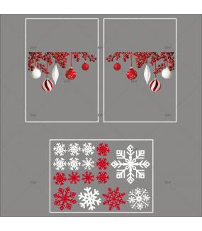 lot-promotionnel-3-stickers-vitrine-noel-chalet-bois-angles-de-boules-rouges-et-blanches-cristaux-blancs-et-rouge-irisé-electrostatique-sans-colle-repositionnable-DECO-VITRES-KIT36