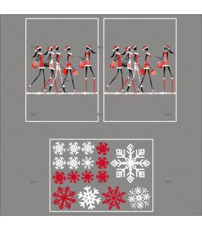 lot-promotionnel-3-stickers-vitrine-noel-fashion-mannequin-filles-shopping-de-noel-cristaux-blancs-rouge-irise-electrostatique-sans-colle-repositionnable-DECO-VITRES-KIT51