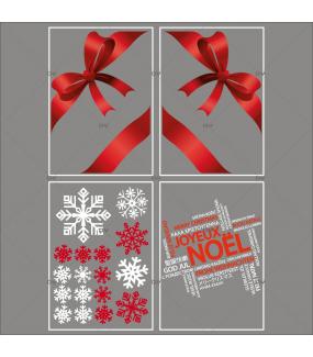 lot-promotionnel-4-stickers-vitrine-noel-fashion-rubans-noeuds-cadeaux-rouges-cristaux-blancs-rouge-irise-texte-joyeux-noel-multilingue-electrostatique-sans-colle-repositionnable-DECO-VITRES-KIT54