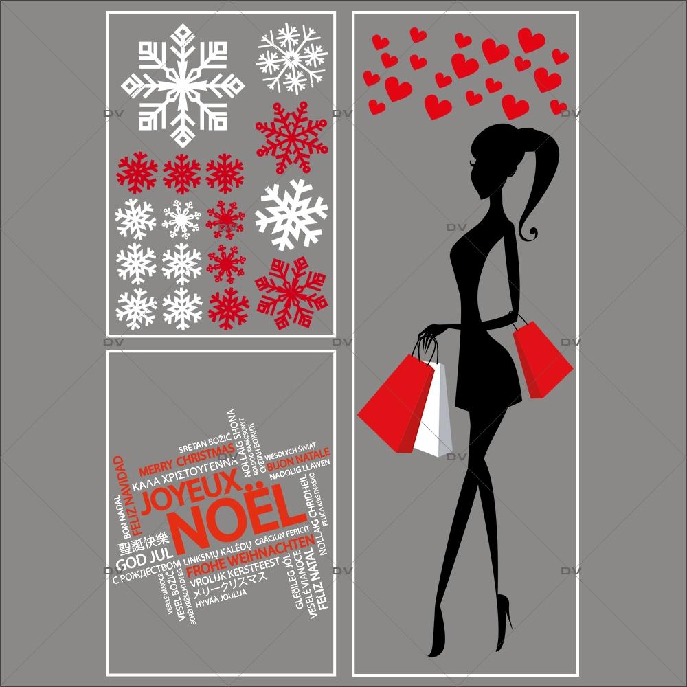 lot-promotionnel-4-stickers-vitrine-noel-fashion-mannequin-femme-shopping-noel-cristaux-blancs-rouge-irise-texte-joyeux-noel-multilingue-electrostatique-sans-colle-repositionnable-DECO-VITRES-KIT55