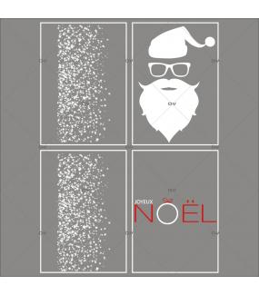 lot-promotionnel-4-stickers-vitrine-noel-graphique-frises-etoiles-tete-pere-noel-bonnet-lunettes-texte-joyeux-noel-electrostatique-sans-colle-repositionnable-DECO-VITRES-KIT69