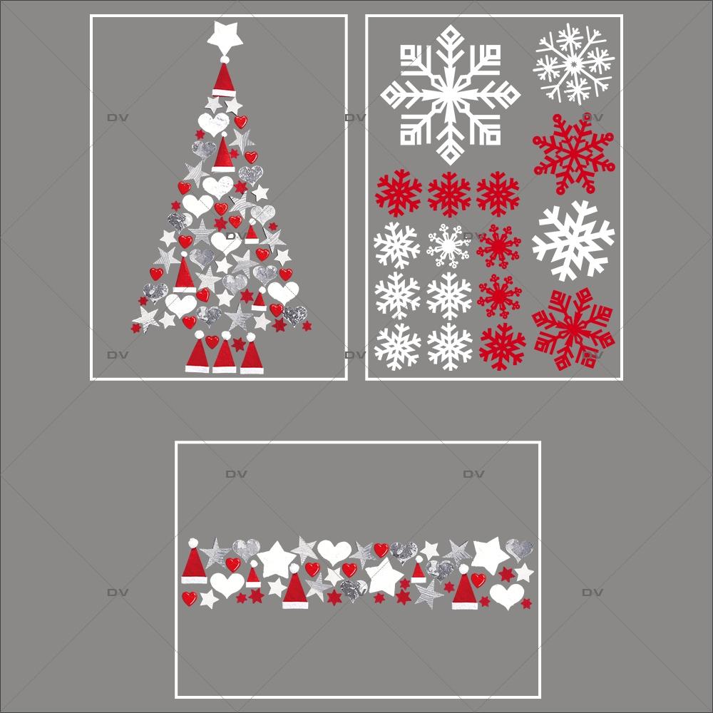 lot-promotionnel-3-stickers-vitrine-noel-origami-cristaux-rouge-irise-blancs-sapin-frise-coeurs-bonnets-etoiles-electrostatique-sans-colle-repositionnable-DECO-VITRES-KIT98