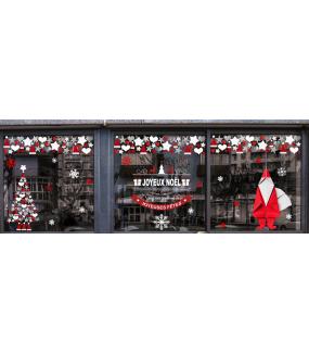 vitrine-decoration-noel-origami-gris-cristaux-rouge-pere-noel-cadeau-sapin-banniere-etoiles-coeurs-vitrophanie-electrostatique-DECO-VITRES