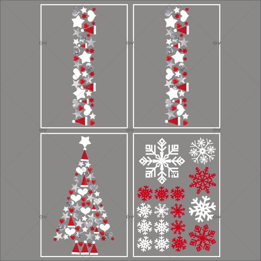 lot-promotionnel-4-stickers-vitrine-noel-origami-cristaux-rouge-irise-blancs-sapin-frises-coeurs-bonnets-etoiles-electrostatique-sans-colle-repositionnable-DECO-VITRES-KIT100
