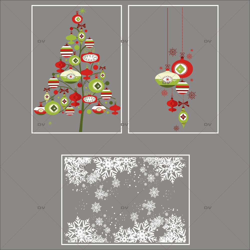 Lot-promotionnel-3-stickers-vitrine-noel-contemporain-sapin-suspensions-de-boules-rouge-vert-frises-de-cristaux-electrostatique-sans-colle-repositionnable-DECO-VITRES-KIT117