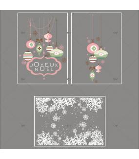 Lot-promotionnel-3-stickers-vitrine-noel-romantique-enseigne-joyeux-noël-suspensions-de-boules-de-noel-rose-vert-frises-de-cristaux-entourage-de-vitrine-electrostatique-sans-colle-repositionnable-DECO-VITRES-KIT313