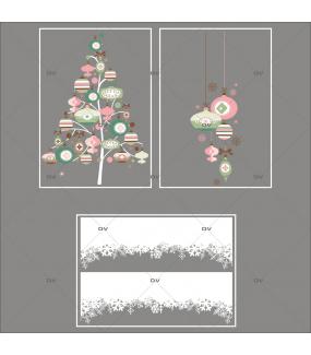 Lot-promotionnel-3-stickers-vitrine-noel-romantique-sapin-suspensions-de-boules-de-noel-rose-vert-frises-de-cristaux-entourage-de-vitrine-electrostatique-sans-colle-repositionnable-DECO-VITRES-KIT314