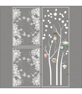 Lot-promotionnel-3-stickers-vitrine-noel-romantique-arbre-givre-boules-de-noel-rose-vert-frises-de-cristaux-entourage-de-vitrine-electrostatique-sans-colle-repositionnable-DECO-VITRES-KIT315