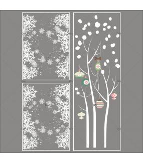 Lot-promotionnel-3-stickers-vitrine-noel-romantique-arbre-givre-boules-de-noel-rose-vert-frises-de-cristaux-entourage-de-vitrine-electrostatique-sans-colle-repositionnable-DECO-VITRES-KIT316