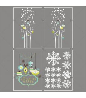 Lot-promotionnel-4-stickers-vitrine-noel-moderne-enseigne-texte-joyeux-noel-suspensions-boules-de-noel-bleu-vert-anis-cristaux-blancs-arbres-givres-electrostatique-sans-colle-repositionnable-DECO-VITRES-KIT331