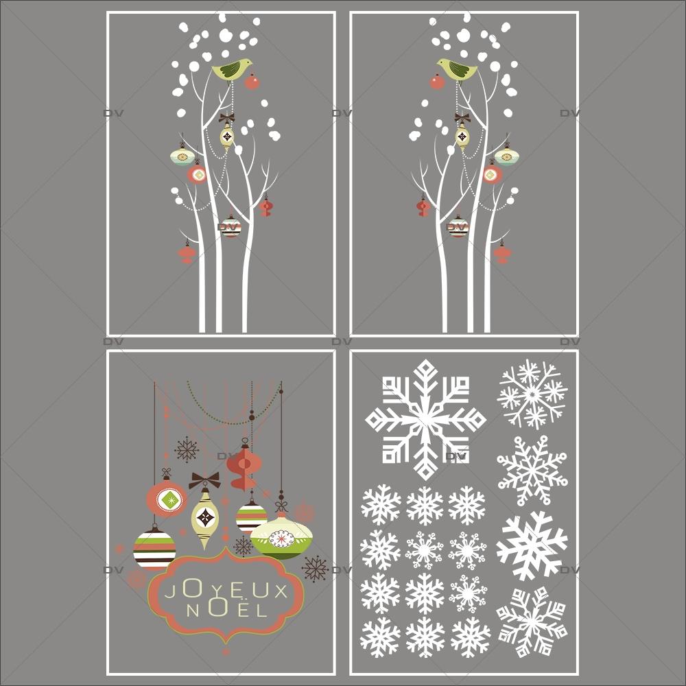 Lot-promotionnel-4-stickers-vitrine-noel-vintage-enseigne-texte-joyeux-noel-suspensions-boules-de-noel-brique-vert-beige-cristaux-blancs-arbres-givres-electrostatique-sans-colle-repositionnable-DECO-VITRES-KIT326