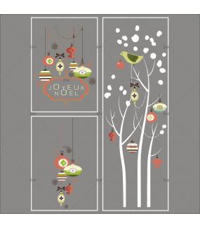 Lot-promotionnel-3-stickers-vitrine-noel-vintage-enseigne-texte-joyeux-noel-suspensions-boules-de-noel-brique-vert-beige-arbres-givres-electrostatique-sans-colle-repositionnable-DECO-VITRES-KIT324