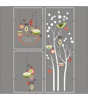 Lot-promotionnel-3-stickers-vitrine-noel-vintage-enseigne-texte-joyeux-noel-suspensions-boules-de-noel-brique-vert-beige-arbres-givres-electrostatique-sans-colle-repositionnable-DECO-VITRES-KIT325