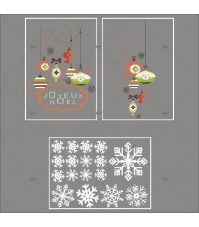 Lot-promotionnel-3-stickers-vitrine-noel-vintage-enseigne-texte-joyeux-noel-suspensions-boules-de-noel-brique-vert-beige-cristaux-electrostatique-sans-colle-repositionnable-DECO-VITRES-KIT322
