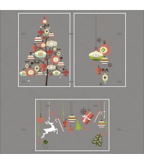 Lot-promotionnel-3-stickers-vitrine-noel-vintage-sapin-suspensions-boules-et-decors-de-noel-brique-vert-beige-cristaux-electrostatique-sans-colle-repositionnable-DECO-VITRES-KIT323