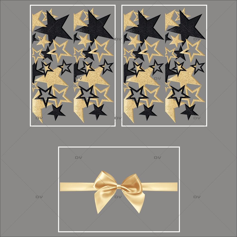 lot-promotionnel-3-stickers-vitrine-noel-dore-frises-etoiles-dorees-et-noires-ruban-noeud-cadeau-or-noel-electrostatique-sans-colle-repositionnable-DECO-VITRES-KIT58