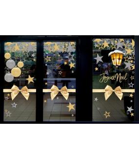 vitrine-noel-or-et-argent-ruban-noeud-cadeau-etoiles-boules-texte-joyeux-noel-paillettes-vitrophanie-electrostatique-reutilisable-DECO-VITRES