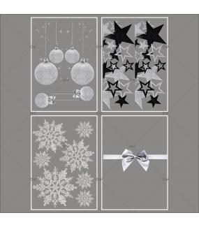lot-promotionnel-4-stickers-vitrine-noel-argente-frises-boules-et-etoiles-argentees-et-noires-ruban-noeud-cadeau-argent-cristaux-electrostatique-sans-colle-repositionnable-DECO-VITRES-KIT95