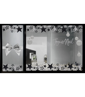 vitrine-noel-noir-argent-ruban-noeud-cadeau-etoiles-boules-texte-joyeux-noel-paillettes-vitrophanie-electrostatique-reutilisable-DECO-VITRES