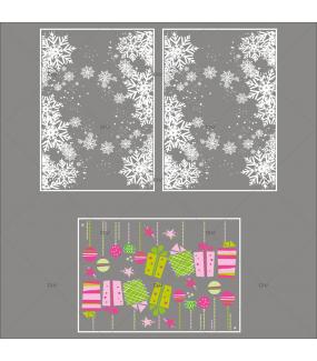 lot-promotionnel-3-stickers-vitrine-noel-girly-frises-entourage-cristaux-et-boules-et-cadeaux-roses-et-vert-electrostatique-sans-colle-repositionnable-DECO-VITRES-KIT149
