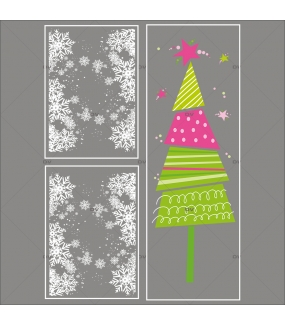 lot-promotionnel-3-stickers-vitrine-noel-girly-frises-entourage-cristaux-et-sapin-stylise-rose-et-vert-electrostatique-sans-colle-repositionnable-DECO-VITRES-KIT150