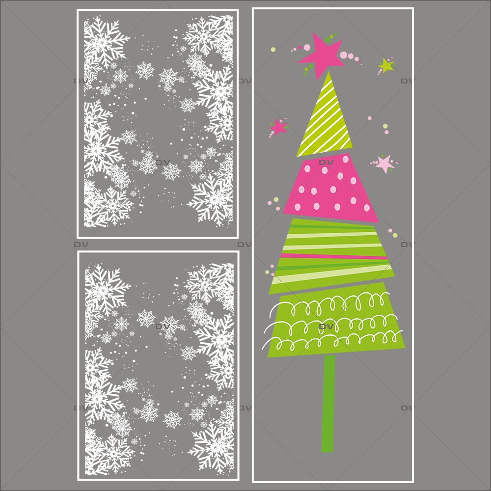 lot-promotionnel-3-stickers-vitrine-noel-girly-frises-entourage-cristaux-et-sapin-stylise-rose-et-vert-electrostatique-sans-colle-repositionnable-DECO-VITRES-KIT150
