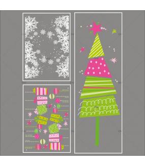 lot-promotionnel-3-stickers-vitrine-noel-girly-frises-entourage-cristaux-boules-paquets-cadeaux-et-sapin-stylise-rose-et-vert-electrostatique-sans-colle-repositionnable-DECO-VITRES-KIT151