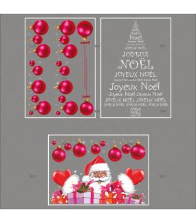 lot-promotionnel-3-stickers-vitrine-noel-flashy-frises-de-boules-fuchsia-pere-noel-cadeaux-sapin-joyeux-noel-electrostatique-sans-colle-repositionnable-DECO-VITRES-KIT107