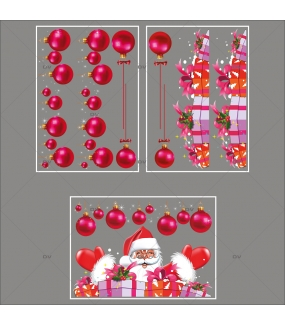 lot-promotionnel-3-stickers-vitrine-noel-flashy-frises-de-boules-fuchsia-pere-noel-et-cadeaux-electrostatique-sans-colle-repositionnable-DECO-VITRES-KIT108