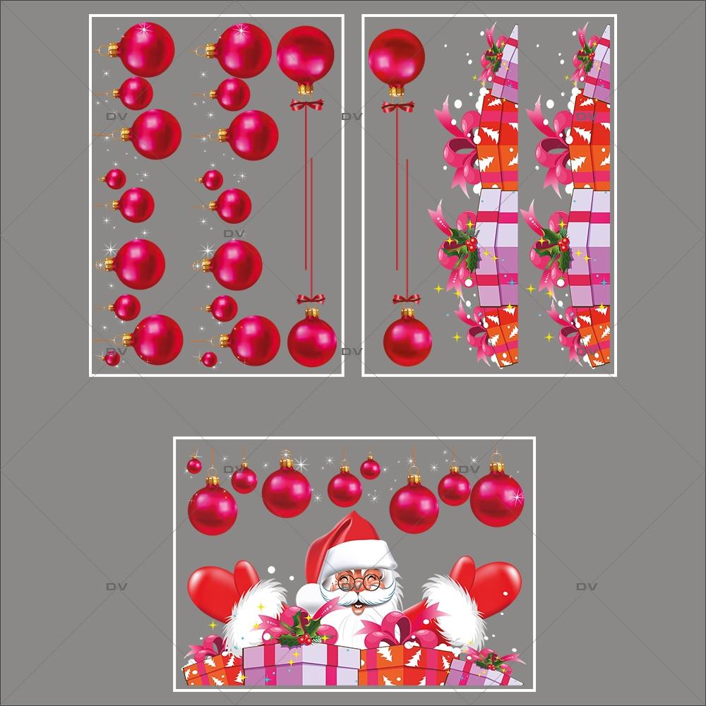 lot-promotionnel-3-stickers-vitrine-noel-flashy-frises-de-boules-fuchsia-pere-noel-et-cadeaux-electrostatique-sans-colle-repositionnable-DECO-VITRES-KIT108