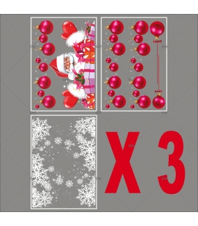 lot-promotionnel-5-stickers-vitrine-noel-flashy-frises-de-boules-fuchsia-pere-noel-et-cadeaux-frises-de-cristaux-electrostatique-sans-colle-repositionnable-DECO-VITRES-KIT110