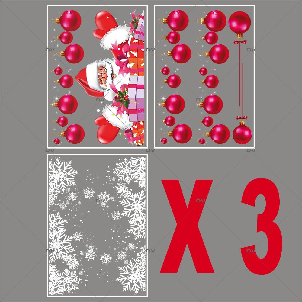 lot-promotionnel-5-stickers-vitrine-noel-flashy-frises-de-boules-fuchsia-pere-noel-et-cadeaux-frises-de-cristaux-electrostatique-sans-colle-repositionnable-DECO-VITRES-KIT110