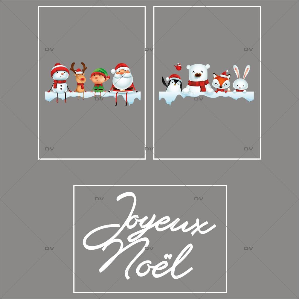 lot-promotionnel-3-stickers-vitrine-noel-ludique-étagères-de-neige-personnages-et-animaux-de-noël-joyeux-noel-electrostatique-sans-colle-repositionnable-DECO-VITRES-KIT156
