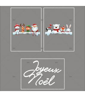lot-promotionnel-3-stickers-vitrine-noel-ludique-étagères-de-neige-personnages-et-animaux-de-noël-joyeux-noel-electrostatique-sans-colle-repositionnable-DECO-VITRES-KIT159