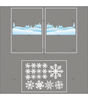 lot-promotionnel-3-stickers-vitrine-noel-ludique-paysage-de-neige-et-cristaux-blancs-electrostatique-sans-colle-repositionnable-DECO-VITRES-KIT157
