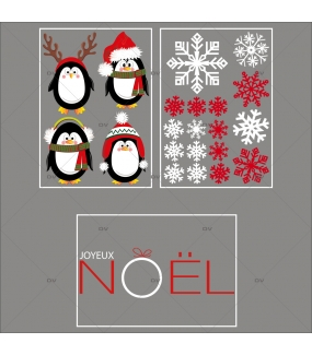 lot-promotionnel-3-stickers-vitrine-noel-arctique-pingouins-cristaux-rouge-irise-et-blancs-texte-joyeux-noel-electrostatique-sans-colle-repositionnable-DECO-VITRES-KIT84