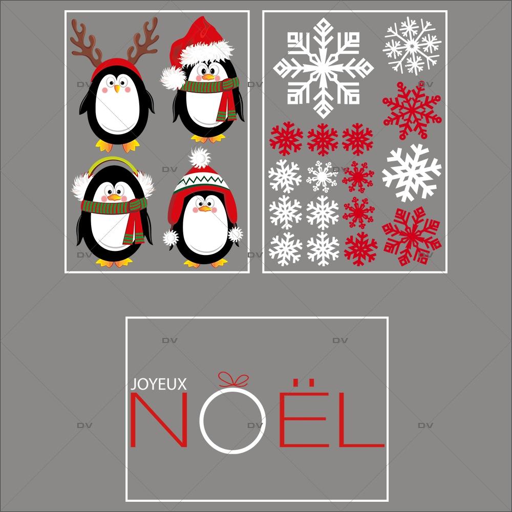 lot-promotionnel-3-stickers-vitrine-noel-arctique-pingouins-cristaux-rouge-irise-et-blancs-texte-joyeux-noel-electrostatique-sans-colle-repositionnable-DECO-VITRES-KIT84