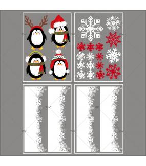 lot-promotionnel-4-stickers-vitrine-noel-arctique-pingouins-cristaux-rouge-irise-et-blancs-frises-de-neige-encadrement-vitrine-electrostatique-sans-colle-repositionnable-DECO-VITRES-KIT84