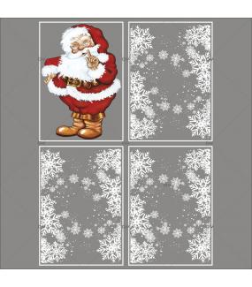 lot-promotionnel-4-stickers-vitrine-noel-petillant-frises-entourage-cristaux-pere-noel-traditionnel-electrostatique-sans-colle-repositionnable-DECO-VITRES-KIT333