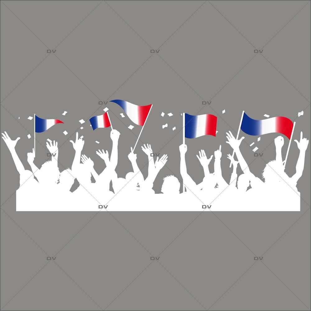 Sticker-football-supporters-fan-drapeaux-France-français-foot-vitrophanie-décoration-vitrine-événementielle-électrostatique-sports-fêtes-sans-colle-repositionnable-réutilisable-DECO-VITRES