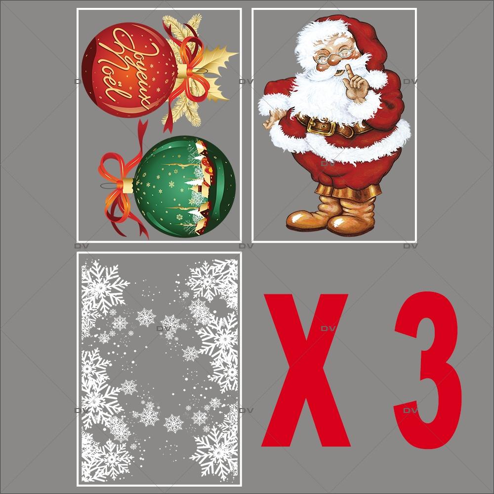 lot-promotionnel-5-stickers-vitrine-noel-petillant-frises-entourage-cristaux-pere-noel-traditionnel-boules-geantes-joyeux-noel-electrostatique-sans-colle-repositionnable-DECO-VITRES-KIT86